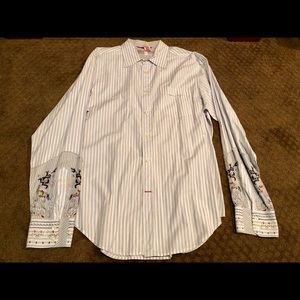 Guess Men's Multi-Striped Embroidered Button Down